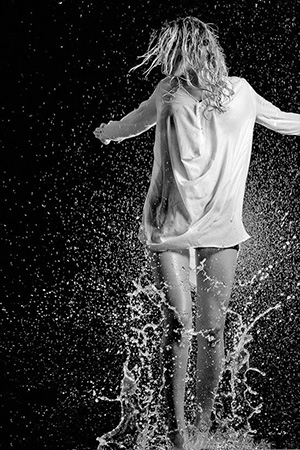 Woman playing with the water